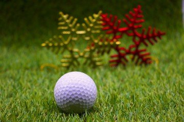 golf on green grass with Christmas and New year Decoration