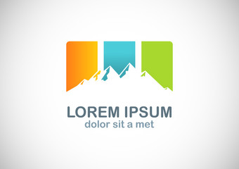 colored mountain icon logo