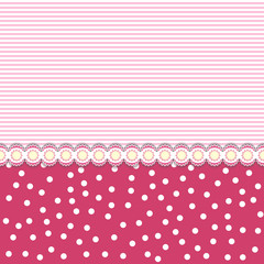 Retro seamless background pattern with dots, strips and lace line in middle. Girly pink colors. Vector illustration.