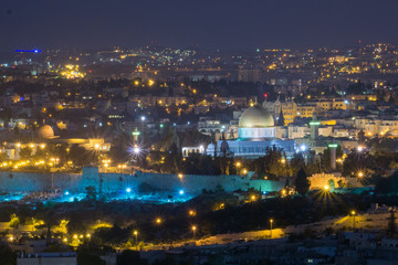 Nightime view of the dome of the rock and the old city of Jerusalem from the boardwalk / Tayelet in Armon Hantziv Jerusalem Israel