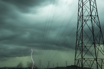 High voltage power lines during a lightning storm in Queensland, Australia.