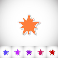 Christmas star. Flat sticker with shadow on white background