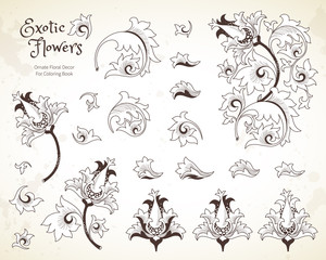 Vector set with flowers in Chinese style.