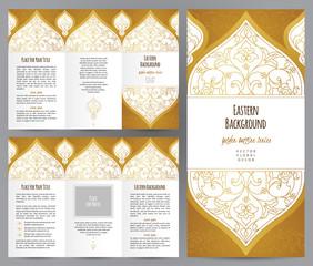 Vintage golden booklet in Eastern style.