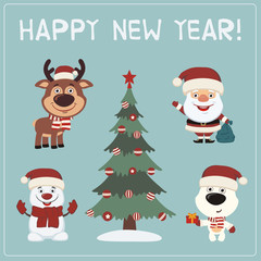 Happy New Year! Set characters: Santa Claus, reindeer, snowman, polar bear and christmas tree.