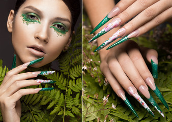 Beautiful girl with art make-up, fern leaves and long nails. Manicure design. The beauty of the face. Photos shot in studio. collage of photos