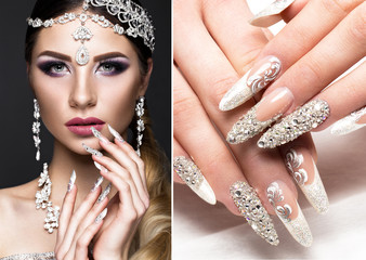 Beautiful girl in the image of the Arab bride with expensive jewelry, oriental make-up and bridal manicure. The beauty of the face. Photos shot in the studio. collage of photos