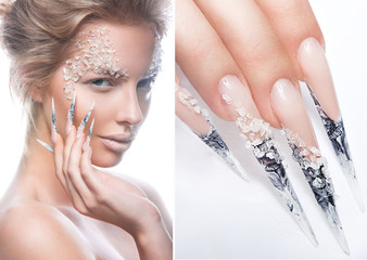 Beautiful fashion model with long nails, creative makeup and manicure design. Beauty face art. Picture taken in the studio on a white background. collage of photos