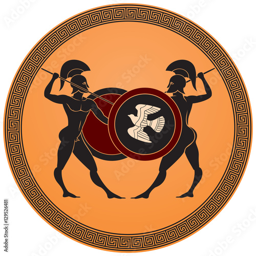 Greek Warriors Battle Hoplites Armed With Spears Shields And