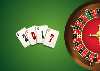 Casino background with roulette wheel . Banner with game cards on green canvas. Casino template with the upcoming 2017 year