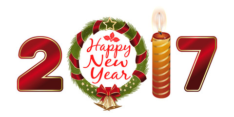New Year 2017. Creative greeting card design with Christmas wreath, a burning candle, gold jingle bells and greetings - Happy New Year. Vector illustration