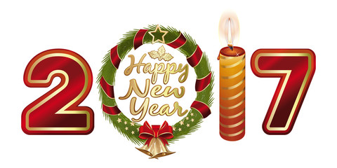 Happy New Year 2017. Stylized figures 2017 in the shape of a Christmas wreath and candle. Wreath of fir branches with jingle bells and gold star. Vector illustration isolated on white background