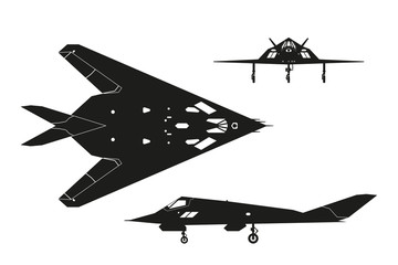 Military aircraft. Silhouette of war plane. Airplane views: top,