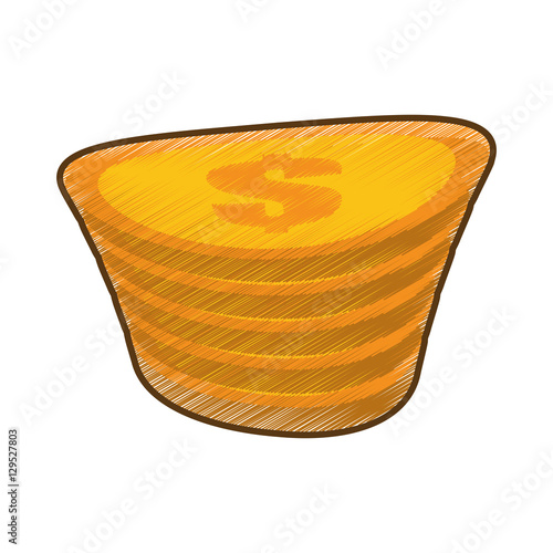 quotdrawing golden coin pile dollar vector illustration eps
