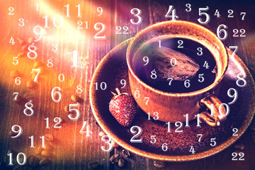 numerology, magic of numbers ,and cup of coffee