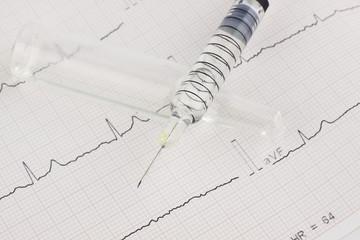 Syringe on EKG heart sheet
