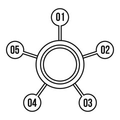 Circle chart with numbers icon. Outline illustration of circle chart with numbers vector icon for web design