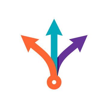 Three way direction color arrows