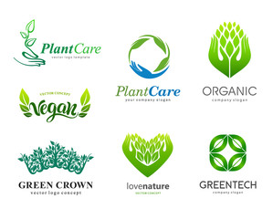 Set of logos. Plant care, eco, organic. Healthy eating and a healthy lifestyle