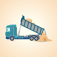 Tipper unloading. Vector illustration