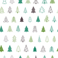 Seamles Christmas pattern. Fir tree Christmas decoration vector background