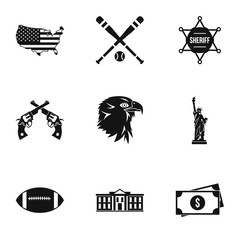Attractions of USA icons set. Simple illustration of 9 attractions of USA vector icons for web