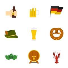 Alcoholic beverage icons set. Flat illustration of 9 alcoholic beverage vector icons for web