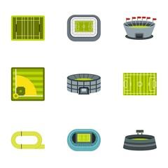 Stadium icons set. Flat illustration of 9 stadium vector icons for web