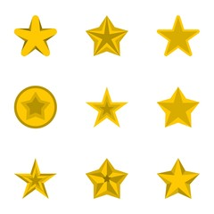 Star icons set. Flat illustration of 9 star vector icons for web