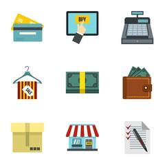 Supermarket buying icons set. Flat illustration of 9 supermarket buying vector icons for web