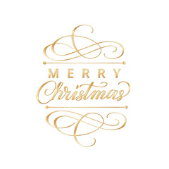 Merry christmas card with typographic design elements