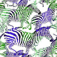 Abstract zebra tropic animal in the jungle on colorful painting hand drawn background. Print seamless vector pattern in fashion styles