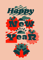 Greeting card happy new year. Typographical printing. Year of the rooster. Sunrise, clouds. Animals and letters. Bells, ribbon. Label, isolated objects on background. Vector illustration