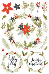Collection of Vintage Merry Christmas And Happy New Year flowers. Greeting stylish illustration of winter flowers, leafs, wreaths.