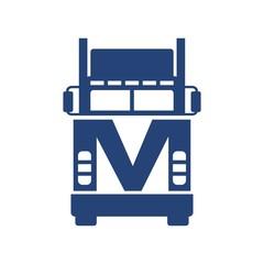 letter M truck logo vector