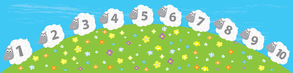sheep and numbers 1 - 10 / educational illustration
