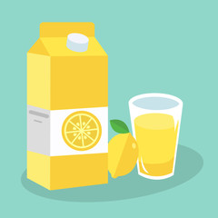 Lemon juice in glass. Carton box. Vector illustration. Flat design style