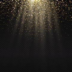 Golden light effect. Star burst light with golden sparkles. Boke