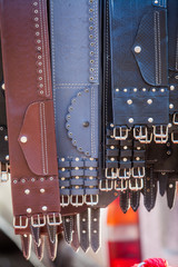 Many leather belts