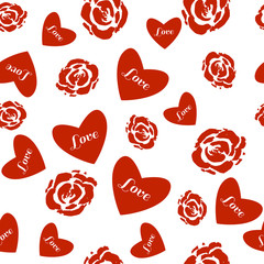 Seamless Pattern with Roses and Hearts