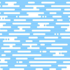 Vector seamless pattern motion blue irregular rounded lines