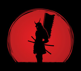 Samurai standing designed on sunlight background graphic vector.