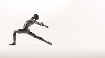 Abstract black plastic human body mannequin over white background. Action dance ballet pose. 3D rendering illustration
