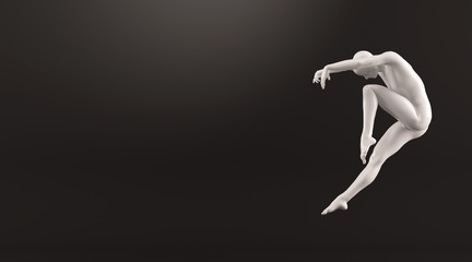 Abstract white plastic human body mannequin over black background. Action dance jump ballet pose. 3D rendering illustration