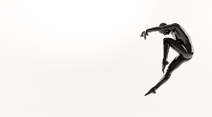 Abstract black plastic human body mannequin over white background. Action dance jump ballet pose. 3D rendering illustration