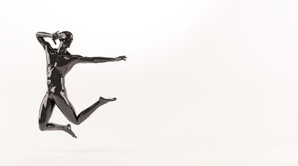 Abstract black plastic human body mannequin over white background. Action jumping pose. 3D rendering illustration