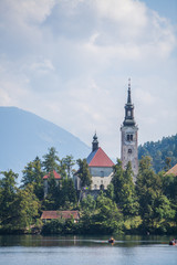 Bled castle and church in Slovenia