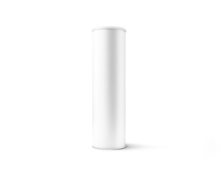 Blank white cardboard cylinder box mockup with plastic lid, 3d rendering. Clear cyllindrical tube container with cap mock up. Snack or bottle carton packaging template. Paper tin round canister.