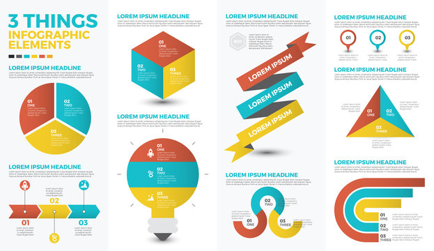 Three things infographic elements
