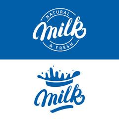Set of Milk hand written lettering logo, label or badge.
